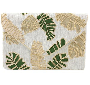 Tropical Leaves Beaded Clutch