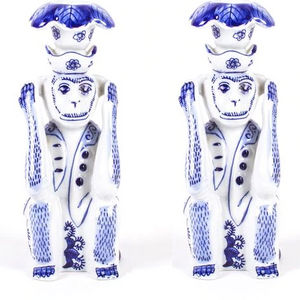 Blue Chinoiserie Monkey Candlestick Holder Set of 2