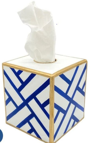Newport Square Tissue Box Holder - Blue and White