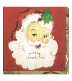 Cocktail Beverage Napkin - Classic Santa