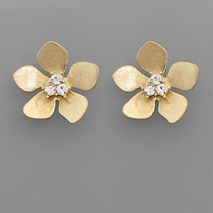 Brushed gold floral & diamond earring
