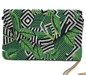 Leaf and Zebra Beaded Pattern Zebra Clutch