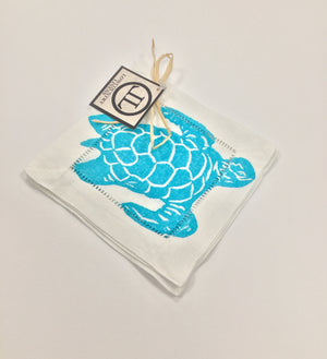 Linen Cocktail Napkins - Caribbean Blue Swimming Turtle