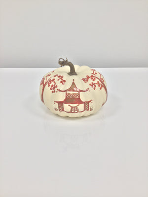 Small Flat Pumpkin - Natural Matte with Brown Pagoda