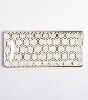 Rectangle Trinket Tray - Gold Honeycomb