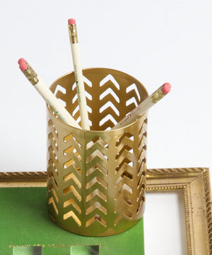 Gold Chevron Pencil Cup