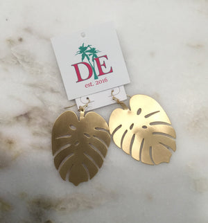 Brushed Gold Monstra Palm Earrings
