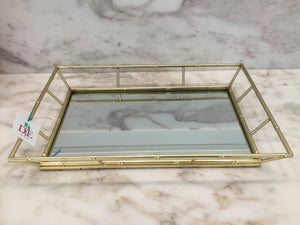 Faux Bamboo Gold Mirror Tray
