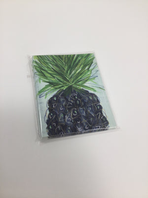 Notecards (5) - Blue Pineapple on Blue