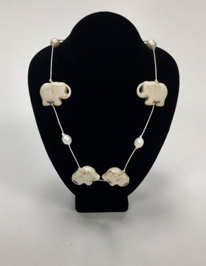 Lela Remmert Elephant and Pearl Necklace