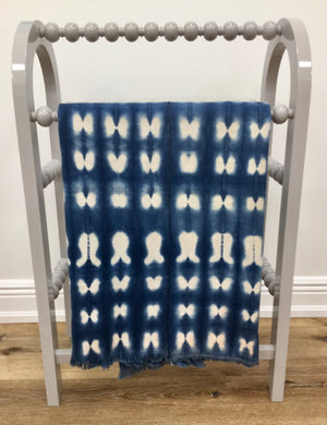 African Dark Blue/ White Tapestry Fabric - Ivory Coast