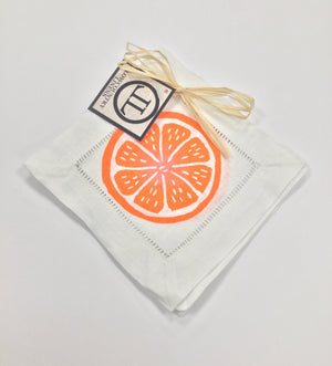 Linen Cocktail Napkins - Orange Citrus on White