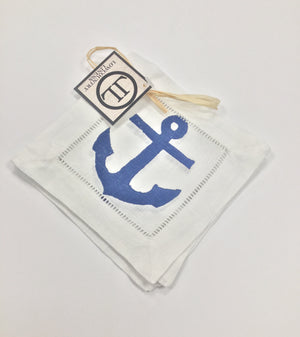 Linen Cocktail Napkins - Denim Anchor