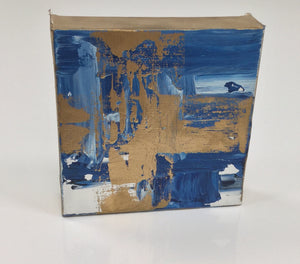 Acrylic Square Block Painting - Blue and Gold 3
