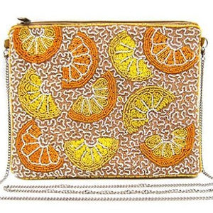 Beaded Lemon Slice Clutch
