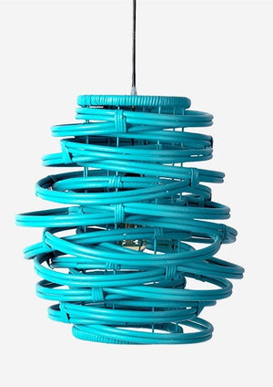 In Store Only Pair of Osceola Hanging Lamps - Rattan in Sky Blue