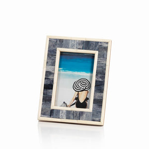 Blue Carved Bone Photo Frame 5x7