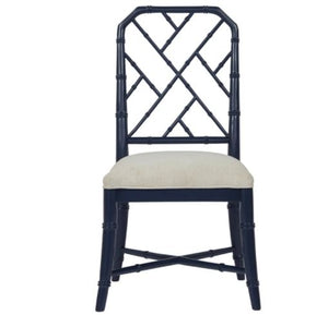 Bamboo Chippendale Side Chair in Navy
