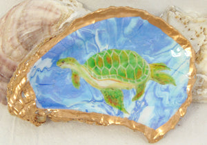 Oyster Shell Jewelry Bowl Sea Turtle