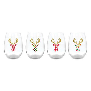 Stemless Wineglass 4 Pack - Stag Head