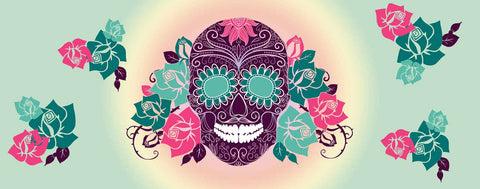 Sugar Skull & Roses (purple)