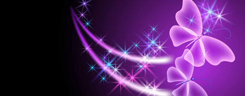 Sparkling Butterflies on Purple Background
