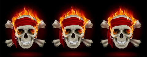 Pirate Skulls in Flames