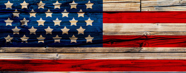 Fouth of July-American Flag Painted on Wooden Wall