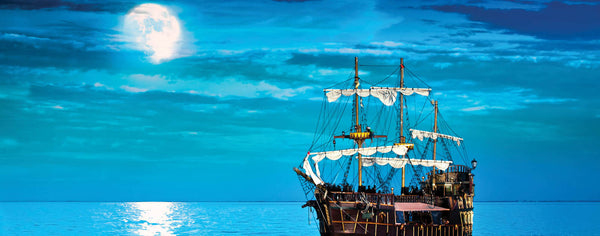 Pirate Ship Sailing by Moonlight