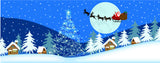 Christmas-Santa Soars Over a Snowy Small Town on Christmas Eve - Blue
