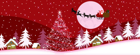 Christmas-Santa Soars Over a Snowy Small Town on Christmas Eve - Red