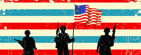 Soldiers Silhouetted Against Stripes