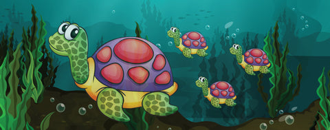 Ocean Animals-Cartoon Turtle Family