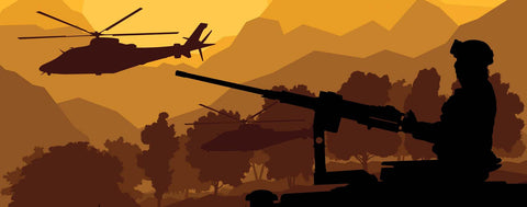 Soldier & Helicopters In Mountains at Sunset