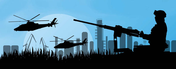 Soldier & Helicopters In City