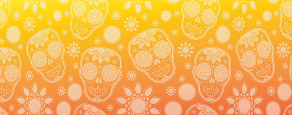 Sugar Skulls with Marigold Graphic Pattern (Yellow & Orange)