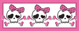 Three Pink Pirate Skulls