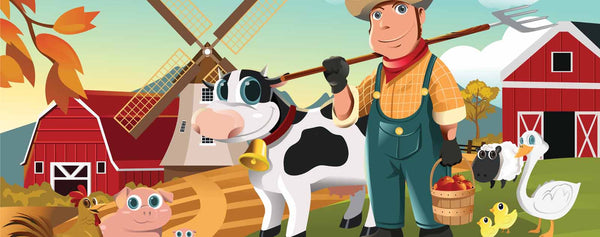 Cartoon Farmer with Animals
