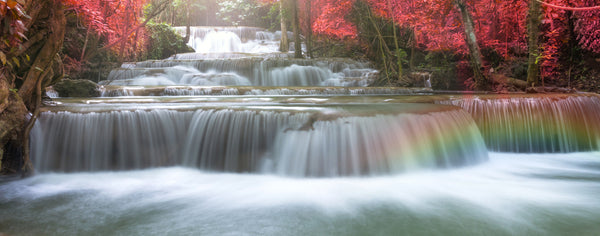 Beautiful waterfall with rainbow in the forest
