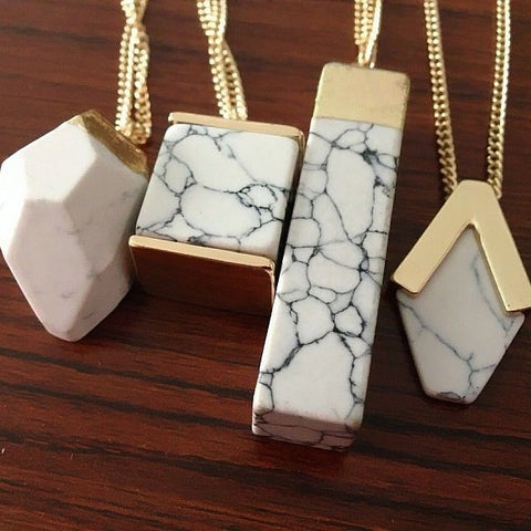 Geometric Marble Stone Necklace