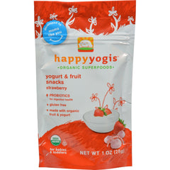Happy Baby Happy Yogis Organic Superfoods Yogurt And Fruit Snacks Strawberry - 1 Oz - Case Of 8