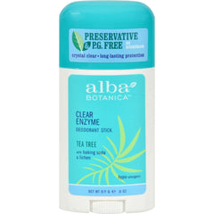 Alba Botanica Deodorant Stick Clear Enzyme Tea Tree - 2 Oz