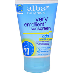 Alba Botanica Very Emollient Natural Sun Block Mineral Protection Kids Spf 30 - 4 Oz