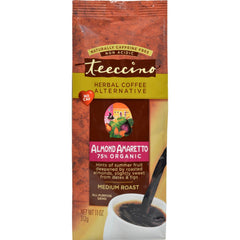 Teeccino Mediterranean Herbal Coffee - Medium Roast - Almond Amaretto - Caffeine Free - 11 Oz