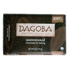 Dagoba Organic Chocolate Unsweetened Dark Chocolate Baking Bar - Case Of 10 - 6 Oz.
