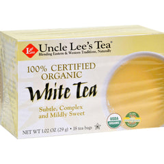 Uncle Lee's Tea 100% Certified Organic White Tea - 18 Tea Bags