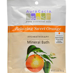 Aura Cacia Aromatherapy Mineral Bath Relaxing Sweet Orange - 2.5 Oz - Case Of 6