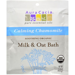 Aura Cacia Soothing Organic Milk And Oat Bath Calming Chamomile - Case Of 6 - 1.75 Oz