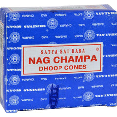 Sai Baba Nag Champa Incense Cone - Case Of 12 - 12 Packs