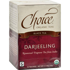 Choice Organic Teas Darjeeling Tea - 16 Tea Bags - Case Of 6